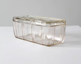 vintage depression glass refrigerator dish, Hazel Atlas criss-cross clear glass