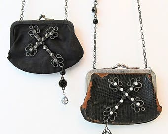 2 Coin Purse Necklaces with Wire Crosses - Vintage Black Satin & Vintage Black Leather - Clearance - BOGO