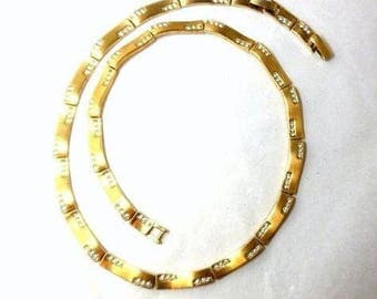 Monet Gold & Rhinestone Necklace Vintage Modern Chic Links Party Bride Wedding Great Gift