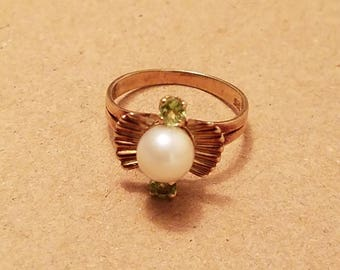 Vintage 14k 585 yellow gold Pearl Green Amethyst sz 5 6 accent ring