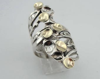 Hadar Jewelry Israel Art Sterling Silver 925 9k gold Ring Size 7 and can be reszed (141g)