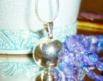 Silver Harmony Ball Pendant-Bell Chime Ball silver Pendant-Pendant Only