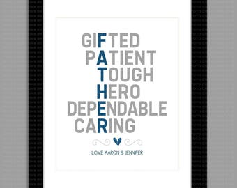 Personalized Typography Fathers's Day Gift, My Father Is, Descriptive Custom - 8x10 - DIGITAL