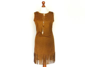 Vintage Velvety Brown Dress / Faux Suede / with Fringe / Country Western Boho Bohemian Hippie Tribal Festival / mini short