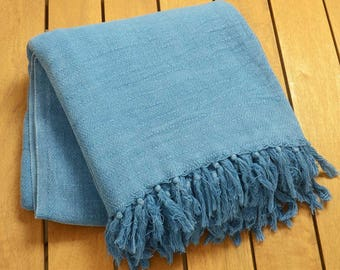 "FREE SHIPPING - Personalized Cozy Stonewashed Blue Cotton Throw Blanket - Extra Large 80""x96"" 200cmx240cm - Vintage Blue"