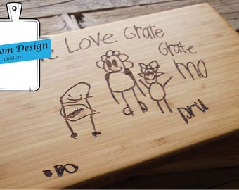 Custom Fee Engraved Board with Child's Art, child drawing engraved, mother's day gift, grandma gift, personalized gift