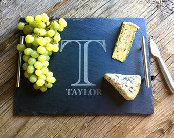 Rustic Farmhouse: Slate Cheese Board, Cheese Tray, House Gift, Housewarming Gift, Wedding Gift, Wine and Cheese