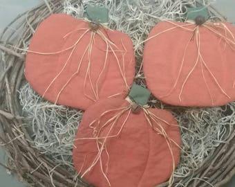 Country Primitive Pumpkin Bowl Fillers - Set of 3 Fabric Pumpkins - Autumn Decor - Cupboard Tucks - Fall Ornies - Primitive Grungy