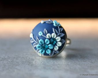 Beautiful Polymer Clay Applique Statement Ring in Blue