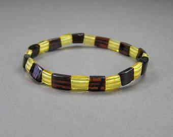 Vintage Amber Bracelet, Retro, 80's, Stretch Bracelet, Yellow Amber, Dark Brown Amber, Amber Jewelry, Baltic Amber