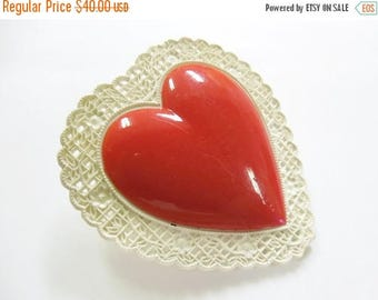 40% OFF NOW Vintage Plastic Valentine Heart Brooch, Celluloid Heart Shaped Brooch, Sweetheart Plastic Brooch, Collectible Valentine Heart Br