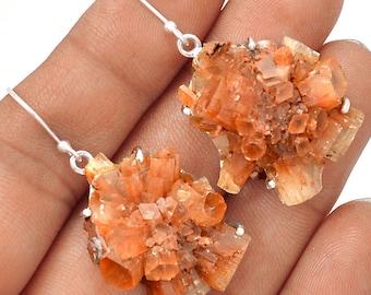 """Aragonite Star Cluster Earrings. 1 3/4"""" long. 4781"""