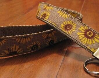 Sunflower Lanyard, Burlap, Linen, Summer, Fall Handmade Lanyard, ID Badge Holder, Back to School, Student ID Holder, Key Ring, Birthday Gift