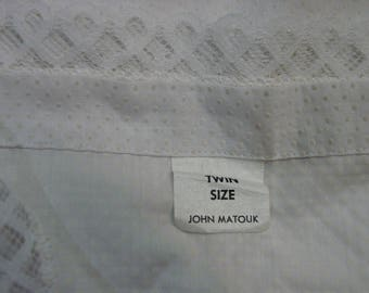 2 Vintage John Matouk White Cotton Bedspreads Dotted Swiss & Lace Twin Size Summer
