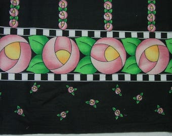 Cute Cotton Fabric Mary Engelbreit? Border Print, Pink Posie Flowers on Black 1 Yard 8""