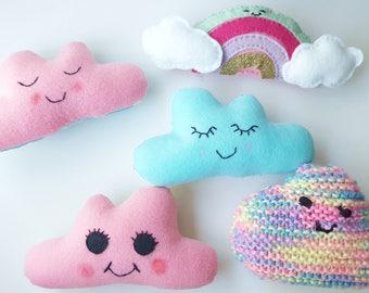 Cute Felt Cloud Baby Rattles - Nursery Decor, Gift, Baby Rattle Toys, Soft Baby Rattle, Kids Room Decor, Nursery Decor, Kawaii!