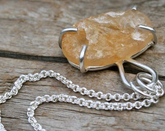 Raw Citrine and Sterling Silver Prong Setting Necklace Pendant.  Metalwork Silversmith Jewelry. Handmade silver rough gemstone fashion