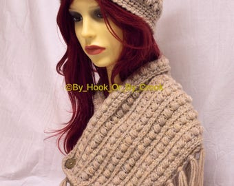Fringed Button Cowl and Hat Set