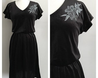70s Simple Black Velvet Dress with Floral Detail
