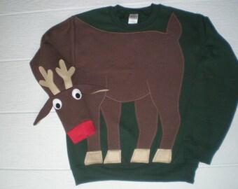 Cute Reindeer sweatshirt, Holiday sweatshirt, Deer sweatshirt, deer shirt, Ugly Christmas sweater, Christmas sweatshirt, adult unisex sizes