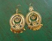 """Mexican Tehuana LARGE gold wash filagree aracada earrings dangle Oaxaca boho Frida Kahlo style Folklorico Fiestas drop 3.5""""Long"""