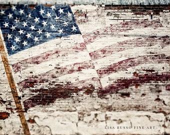 Rustic Farmhouse American Flag Art Print or Canvas Art, Fixer Upper Decor American Flag Wall Art, Patriotic Art Print, Farmhouse Flag Art.