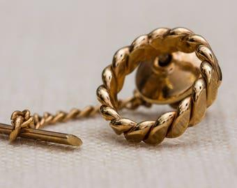 Gold Tie Tack Circle Braided Lapel Pin Tie Clip Vintage Men's Accessory 7WW