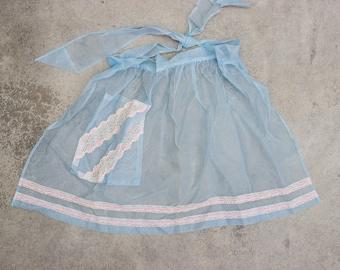 Sheer Blue Apron Vintage Pastel Blue & Pink Smock Hostess Apron 1950s Pin Up 7NH