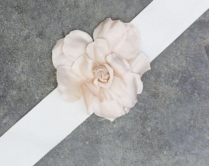White Leather Ribbon Belt Ivory Silk Flower Bride Bridal Dress Sash Handmade Tonal Cream Off-White Floral 263