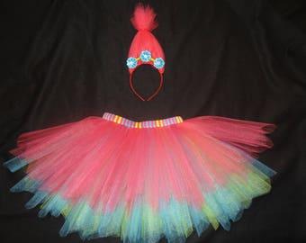 Princess Poppy custom tutu set includes tutu and headband, Trolls inspired tutu set