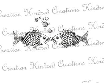 Fish Kiss 300 dpi Digital Image Download Transfer For T Shirts Totes Napkins Personal and Commercial Use