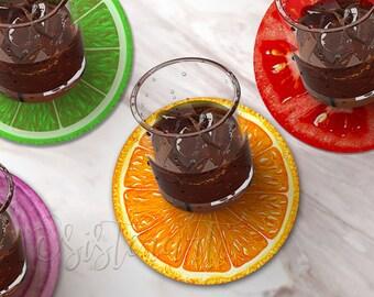 Fruit Slice Coaster Set, Tomato Coaster, Orange Coaster, Lime Coaster,  Fun Coasters.