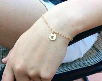 Gold Bracelet, Dainty initial Gold Bracelet, Disk Bracelet, Bridesmaid Bracelet Layering Bracelet Birthday Gift Gold filled bracelet