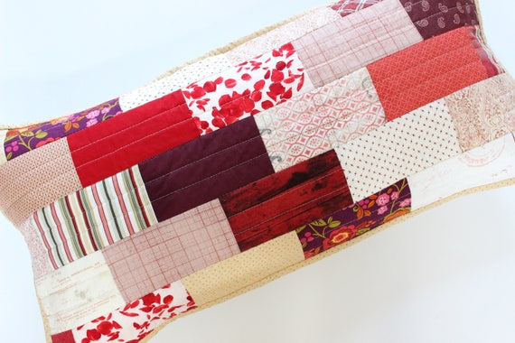 Ruby Red Decorative Patchwork Pillow
