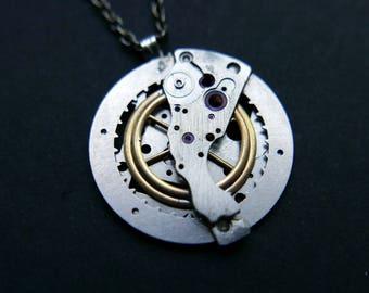 "Watch Parts Pendant ""Delta"" Cosmic Alien Delicate Beautiful Mechanical Watch Sculpture Necklace Industrial Steampunk Art Mechanical Mind"