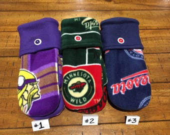 Medium Minnesota Collection:  Vikings, Wild, and Twins Mittens (pick one, two, or three)