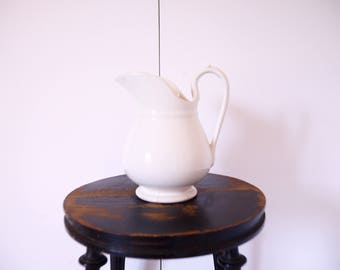 French vintage white ironstone pitcher White French vintage jug  Sarreguemines French server, French tabletop
