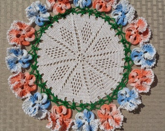 Pansy Doily in Oranges & Blues