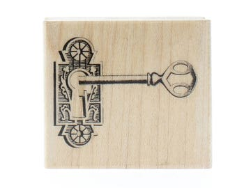 Hampton Art Victorian Skeleton Key and Lock Wooden Rubber Stamp