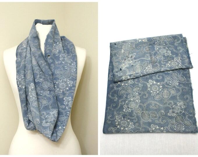 Antique Japanese Boro Textile. Handwoven Katazome Cotton Scarf. Natural Indigo Stencil Dyed Folk Fabric  (Ref: 1454)