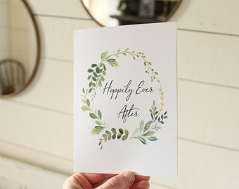 Happily Ever After Card | Watercolor Greenery Wedding Card | Congratulations Wedding Card | Greeting Card