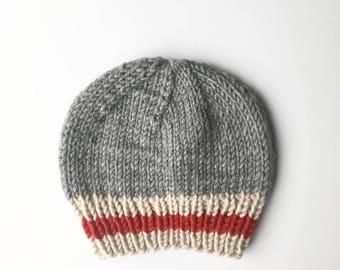 Baby Beanie, Newborn Hat, Canadian, Work Sock Hat, Sock Monkey Hat, Toque, Cabin Beanie, Beanie, Knitted Hat, Knit Baby Toque, Knit Toque