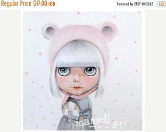 On Sale Princess Art, Girls Room Art, Poster, Girl Art Print, Big Eyed Girl, Children's Art, Blythe - Princess & The White Rabbit Print 10''