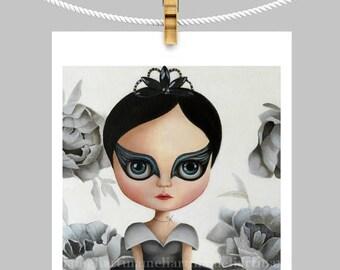 Black swan pop surrealism big eyed, swan girl art PRINT queer art fairytale, ooak blythe, girl portrait, blythe girl painting 8x10inch