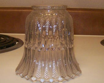 Antique Turn of the Century Pattern Glass Lamp Shade - Perfect!