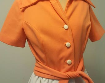Vintage 1960s Mod Dress. Poly Knit. Orange & White Mini Dress Small