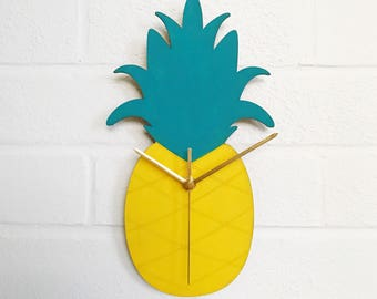 Pineapple Clock | Handmade Wooden Clock | Hand Painted Kitchen Clock | Gifts For Her | Gifts For Him