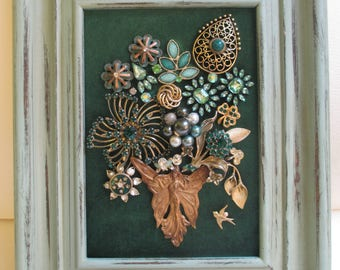 Jeweled Framed Jewelry Flower Bouquet Art Nouveau Vintage Green Gold