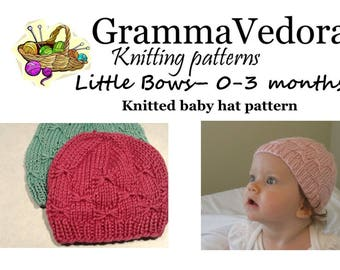 Pattern for knit 0 to 3 month infant hat with bows stitch