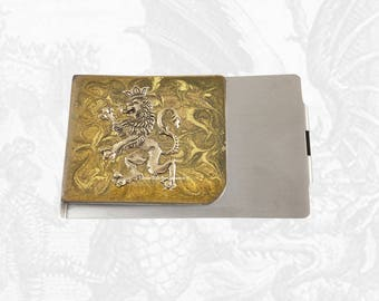 Rampant Lion Large Money Clip Wallet Inlaid in Hand Painted Gold Enamel Game of Thrones Inspired with Personalized and Color Options